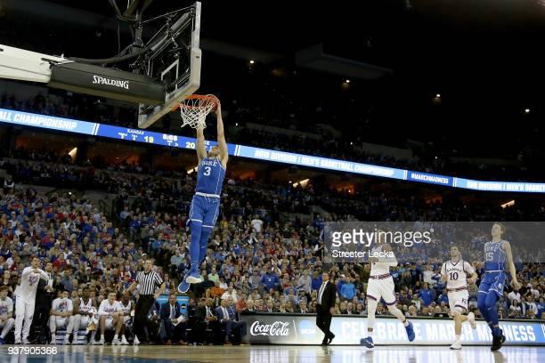 Grayson Allen of the Duke Blue Devils dunks the ball against the Kansas Jayhawks during the first half in the 2018 NCAA Men's Basketball Tournament...