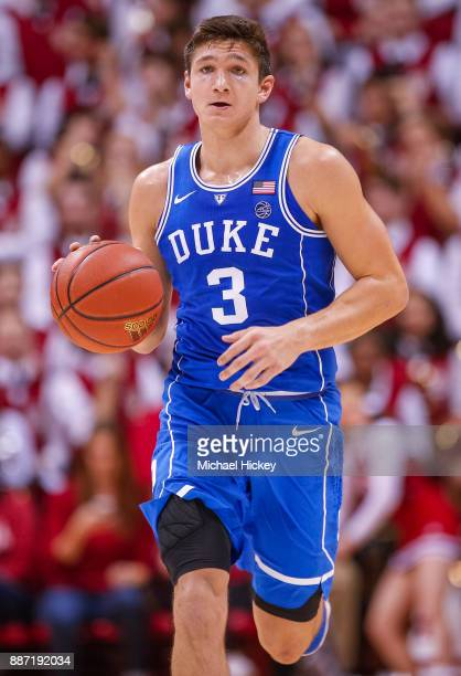 Grayson Allen of the Duke Blue Devils during the game against the Indiana Hoosiers at Assembly Hall on November 29 2017 in Bloomington Indiana