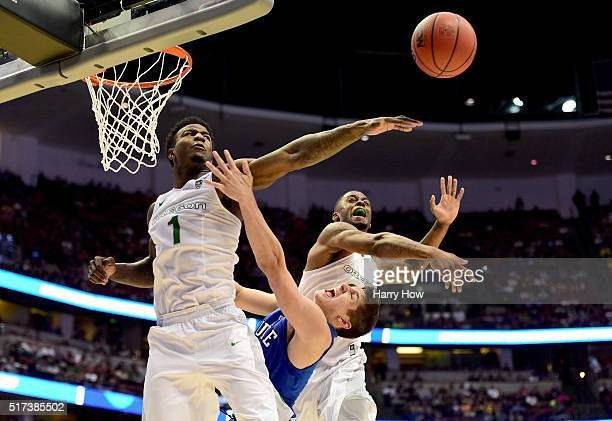 Grayson Allen of the Duke Blue Devils goes up for a shot against Jordan Bell of the Oregon Ducks in the second half in the 2016 NCAA Men's Basketball...