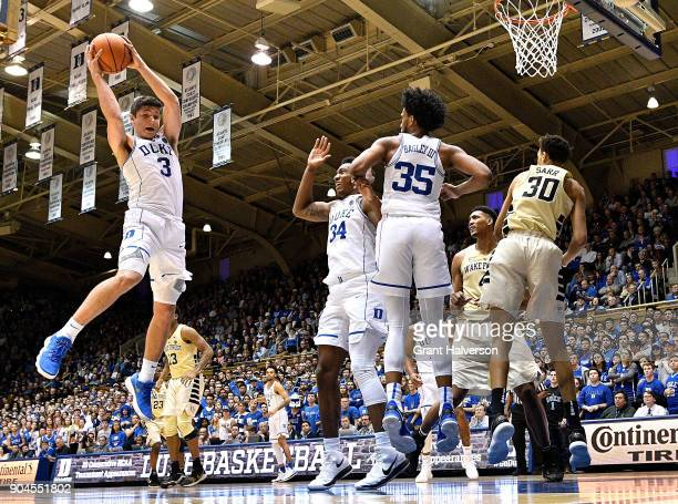 Grayson Allen of the Duke Blue Devils pulls down a long rebound against the Wake Forest Demon Deacons during their game at Cameron Indoor Stadium on...