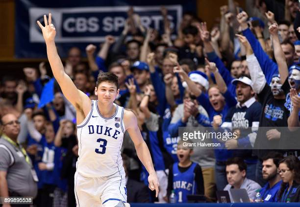 Grayson Allen of the Duke Blue Devils reacts after making a three-point basket against the Florida State Seminoles during their game at Cameron...