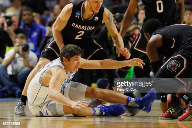 Grayson Allen of the Duke Blue Devils reacts as he loses the ball in the second half against the South Carolina Gamecocks during the second round of...