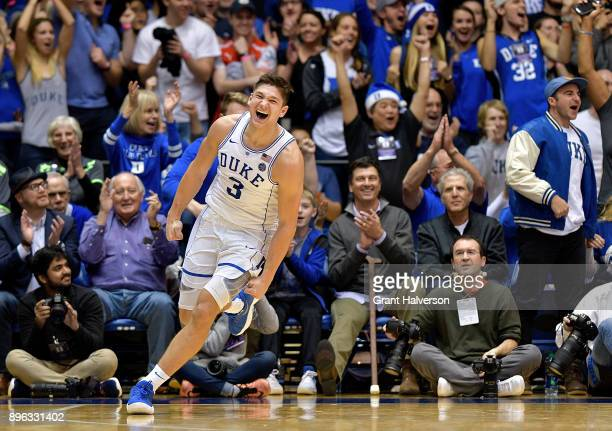 Grayson Allen of the Duke Blue Devils reacts during their game against the Evansville Aces at Cameron Indoor Stadium on December 20 2017 in Durham...