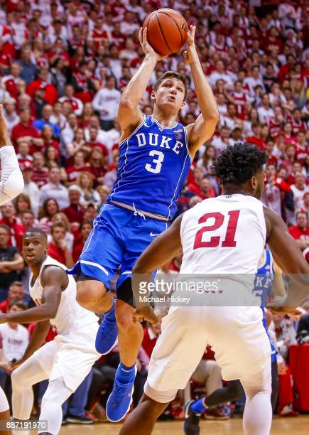 Grayson Allen of the Duke Blue Devils shoots the ball against the Indiana Hoosiers at Assembly Hall on November 29 2017 in Bloomington Indiana