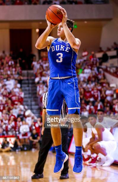 Grayson Allen of the Duke Blue Devils shoots the ball during the game against the Indiana Hoosiers at Assembly Hall on November 29 2017 in...