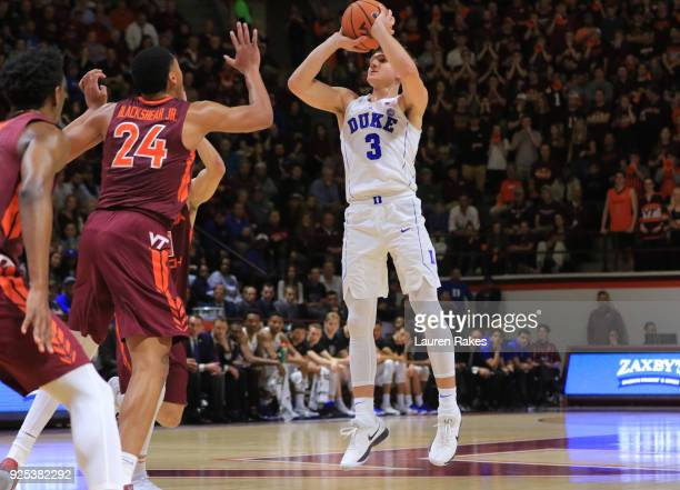 Grayson Allen of the Duke Blue Devils shoots the ball in the first half against the Virginia Tech Hokies at Cassell Coliseum on February 26 2018 in...