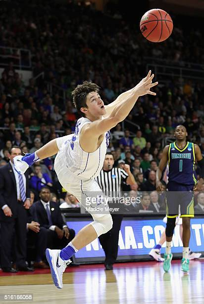 Grayson Allen of the Duke Blue Devils shoots the ball in the second half against the North CarolinaWilmington Seahawks during the first round of the...