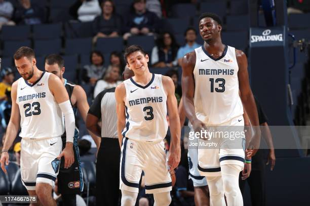 Grayson Allen of the Memphis Grizzlies and Jaren Jackson Jr #13 of the Memphis Grizzlies shaers a laugh during the game against the New Zealand...