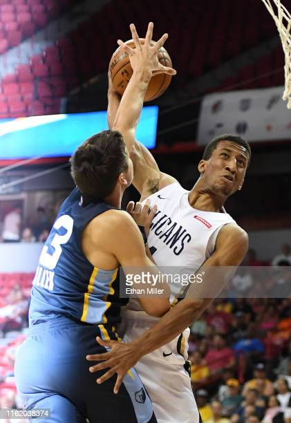Grayson Allen of the Memphis Grizzlies blocks a shot by Aubrey Dawkins of the New Orleans Pelicans during a semifinal game of the 2019 NBA Summer...