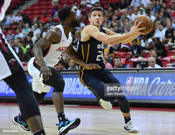 Grayson Allen of the Utah Jazz drives against Ike Nwamu of the Miami Heat during the 2018 NBA Summer League at the Thomas Mack Center on July 10 2018...