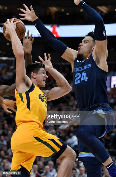 Grayson Allen of the Utah Jazz goes to the basket while being defended by Dillon Brooks of the Memphis Grizzlies in the second half of a NBA game at...