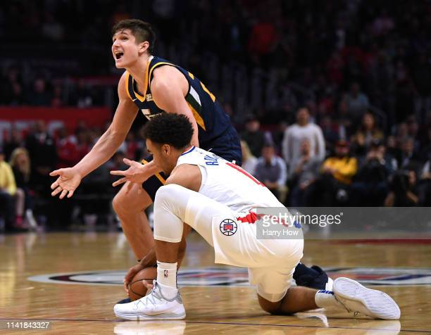 Grayson Allen of the Utah Jazz reacts as he loses the ball to Jerome Robinson of the LA Clippers during a 143137 Clippers win at Staples Center on...