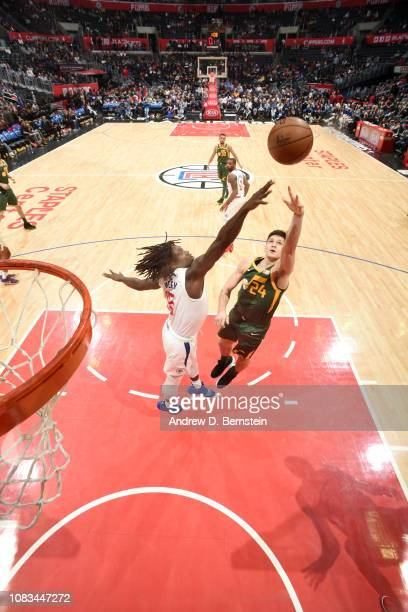 Grayson Allen of the Utah Jazz shoots the ball against the LA Clippers on January 16 2019 at STAPLES Center in Los Angeles California NOTE TO USER...