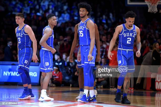Grayson Allen Trevon Duval Marvin Bagley III and Gary Trent Jr #2 of the Duke Blue Devils look on during their game against the St John's Red Storm...