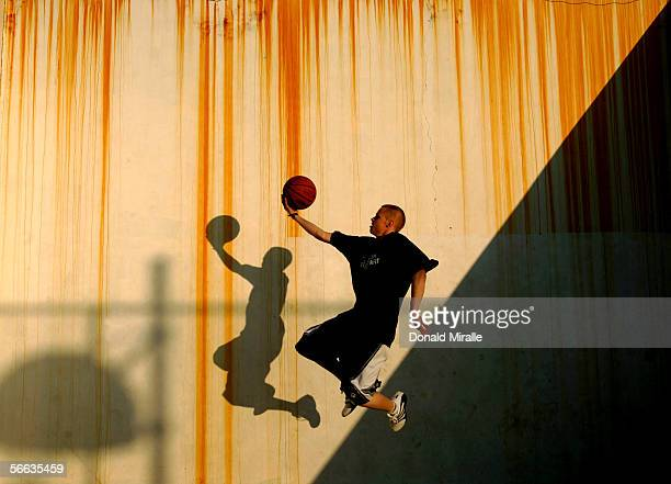 Grayson Boucher AKA 'The Professor' a player on the AND 1 street basketball team goes up to layup the ball during a shoot for ESPN the Magazine on...