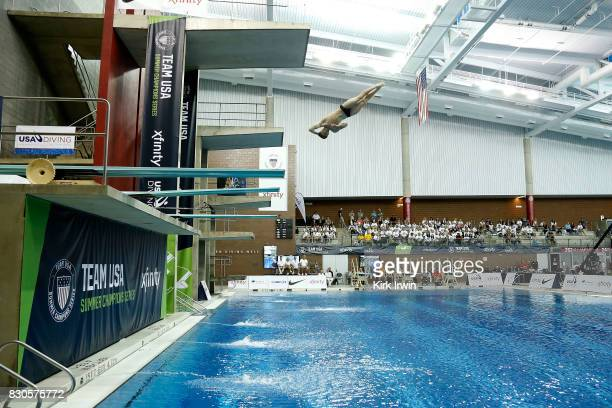 Grayson Campbell of Longhorn Aquatics competes during the Senior Men's 3m Springboard Final during the 2017 USA Diving Summer National Championships...