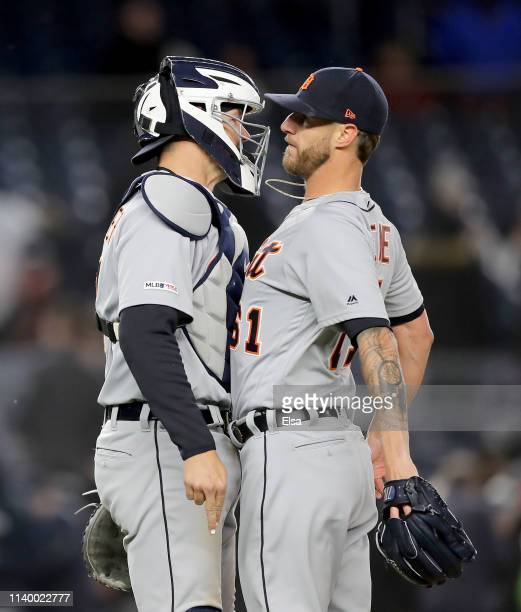 Grayson Greiner and Shane Greene of the Detroit Tigers at Yankee Stadium celebrate the 31 win over the New York Yankees on April 02 2019 in the Bronx...
