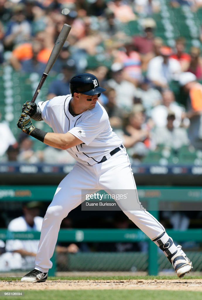 Grayson Greiner #17 of the Detroit Tigers bats against the Chicago White Sox during the fifth inning at Comerica Park on May 27, 2018 in Detroit, Michigan. The Tigers defeated the White Sox 3-2.