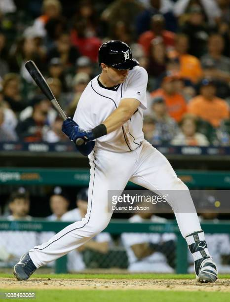 Grayson Greiner of the Detroit Tigers bats against the Houston Astros at Comerica Park on September 11 2018 in Detroit Michigan