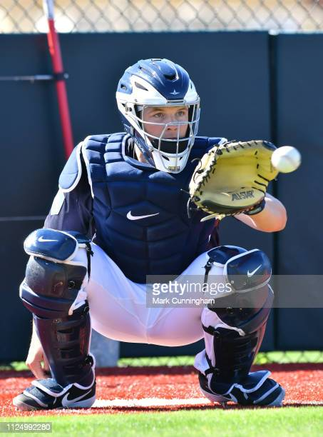 Grayson Greiner of the Detroit Tigers catches a baseball during Spring Training workouts at the TigerTown Complex on February 14 2019 in Lakeland...
