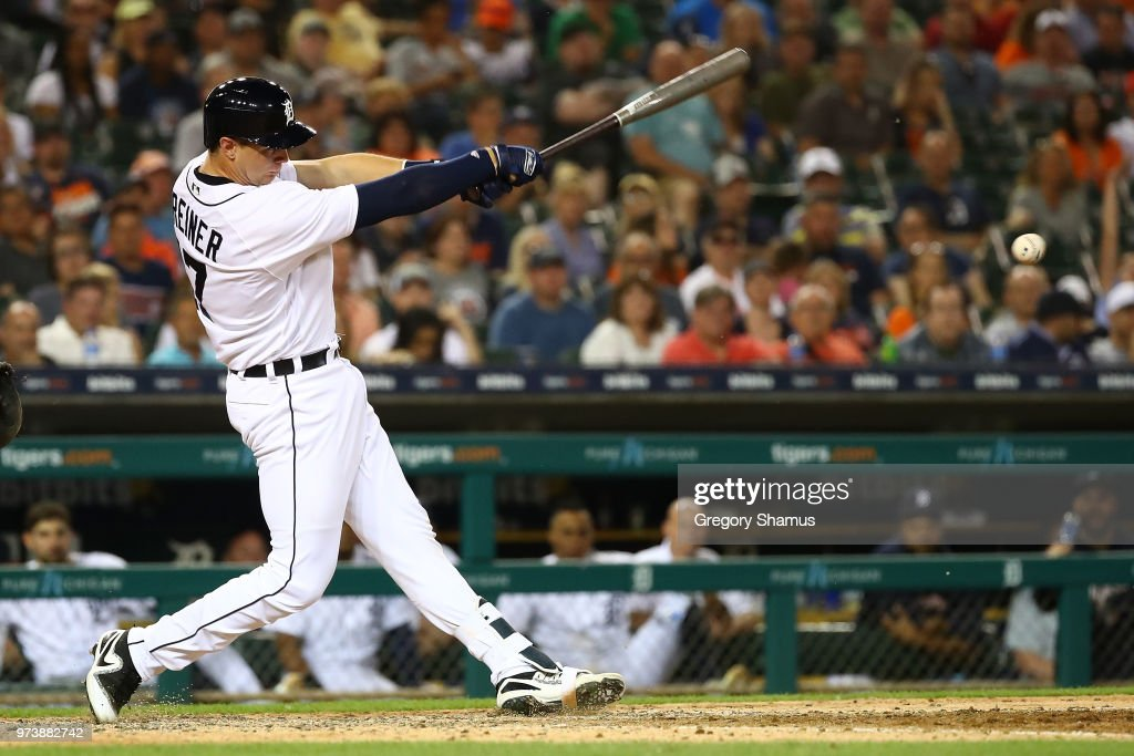 Grayson Greiner #17 of the Detroit Tigers hits a eighth inning RBI single while playing the Minnesota Twins at Comerica Park on June 13, 2018 in Detroit, Michigan.