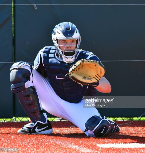 Grayson Greiner of the Detroit Tigers looks on during Spring Training workouts at the TigerTown Complex on February 14 2019 in Lakeland Florida