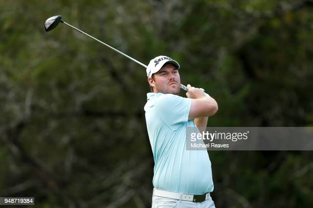 Grayson Murray plays his shot from the fifth tee during the first round of the Valero Texas Open at TPC San Antonio ATT Oaks Course on April 19 2018...