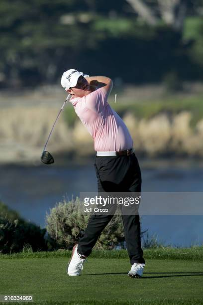 Grayson Murray plays his shot from the fourth tee during Round Two of the ATT Pebble Beach ProAm at Spyglass Hill Golf Course on February 9 2018 in...