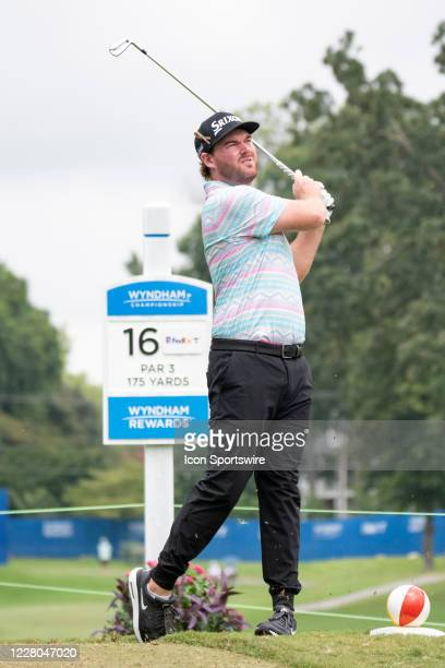 Grayson Murray tees off on the 16th hole during the first round of the Wyndham Championship golf tournament at Sedgefield Country Club in Greensboro,...