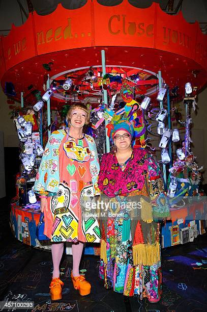Grayson Perry and Camila Batmanghelidjh attend the private view of the Kids Company's 'Holding Up Childhood' exhibition at Royal Academy of Arts on...