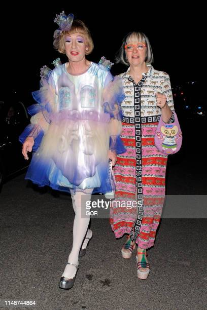 Grayson Perry and his wife Phillipa seen leaving the television BAFTAS at the Royal Festival Hall on May 12 2019 in London England