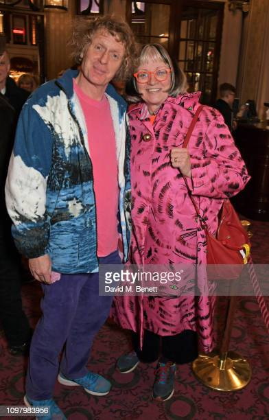 Grayson Perry and Philippa Perry attend a performance of Company in the West End at The Gielgud Theatre on February 11 2019 in London England