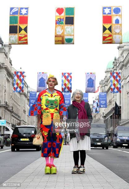 Grayson Perry and Rose Wylie unveiling the RA250 Flags across London's West End on June 4 2018 in London England