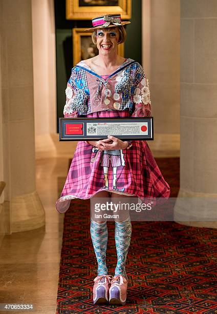 Grayson Perry attends a photocall as he is honoured with the Freedom of the City of London at The Guildhall on April 22 2015 in London England