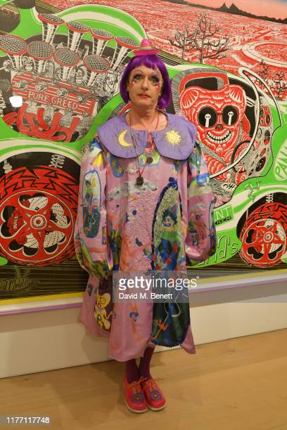 Grayson Perry attends a private view of Grayson Perry Super Rich Interior Decoration at Victoria Miro Gallery on September 25 2019 in London England