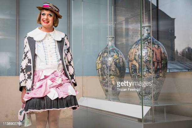 Grayson Perry attends a special unveiling of his Matching Pair vases which go on display today in the VA's worldfamous Ceramics Galleries at The VA...