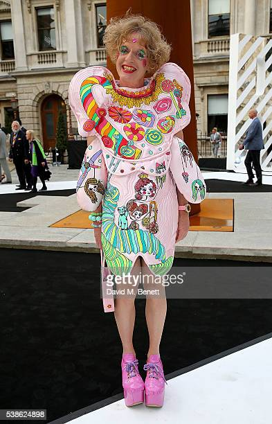Grayson Perry attends a VIP preview of the Royal Academy of Arts Summer Exhibition 2016 on June 7 2016 in London England
