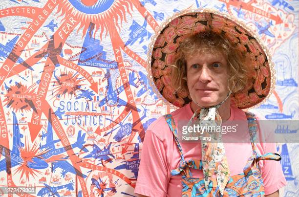 """Grayson Perry attends the """"Grayson Perry: The Most Specialest Relationship"""" photocall at Victoria Miro Gallery on September 14, 2020 in London,..."""