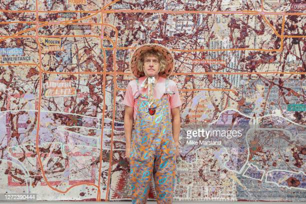 """Grayson Perry during the """"Grayson Perry: The Most Specialest Relationship"""" photocall at Victoria Miro Gallery on September 14, 2020 in London,..."""