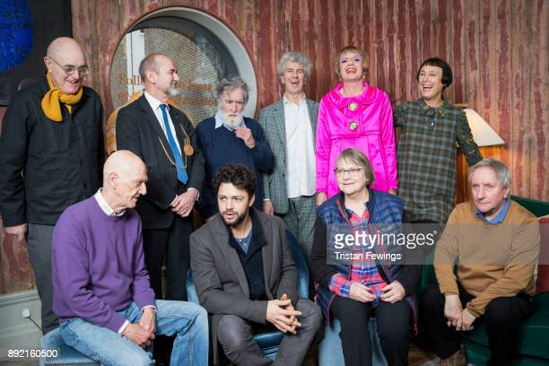 Grayson Perry RA standing in The Academicians Room with Back row Humphrey Ocean Christopher Le Brun Tom Phillips Piers Gough Cornelia Parker and...
