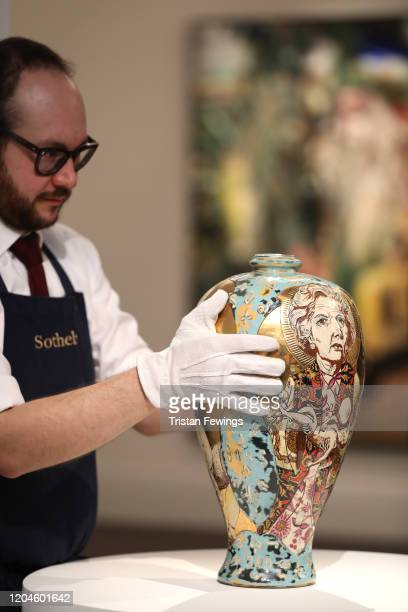 Grayson Perry's 'Love Letters' estimated to sell between £80000 £120 is displayed at Sotheby's on February 07 2020 in London England