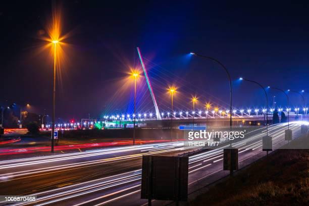grayston bridge in sandton, johannesburg - footbridge stock photos and pictures