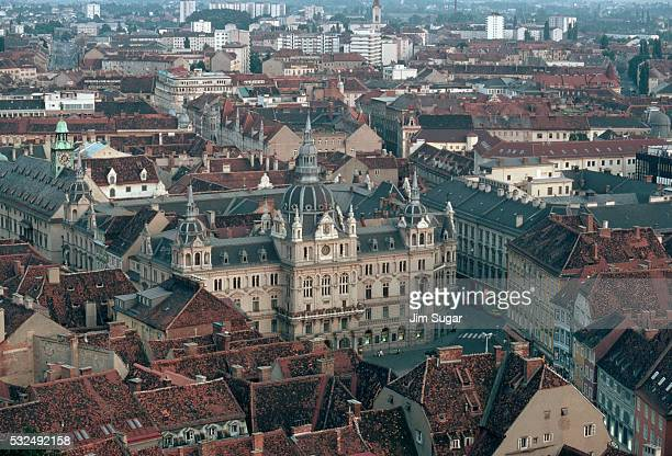 graz, austria with city hall - austria stock pictures, royalty-free photos & images