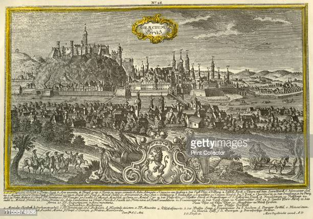 Graz, circa 1740. The city of Graz in Austria, , with a coat of arms in the foreground, and churches, castles, and principal landmarks indicated....