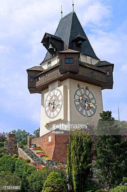 graz clock tower - graz stock photos and pictures