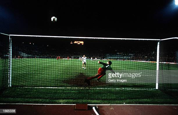 Graziani misses a vital penalty during the 1984 European Cup Final between Roma v Liverpool played in Rome Italy Liverpool won 53 on penalties...