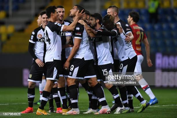 Graziano Pellè of Parma Calcio celebrates scoring the opening goal during the Serie A match between Parma Calcio and Genoa CFC at Stadio Ennio...