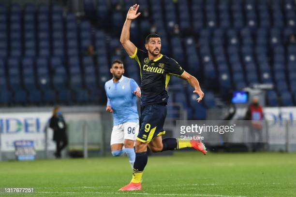 Graziano Pellè of Parma Calcio gestures during the Serie A match between SS Lazio and Parma Calcio at Stadio Olimpico on May 12, 2021 in Rome, Italy....
