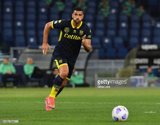 Graziano Pellè of Parma Calcio in action during the Serie A match between SS Lazio and Parma Calcio at Stadio Olimpico on May 12, 2021 in Rome,...