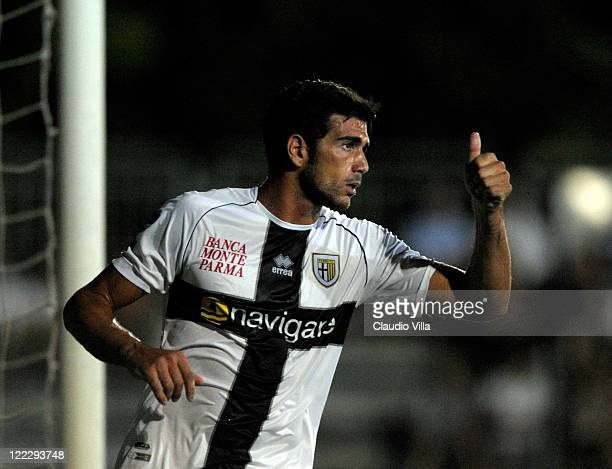 Graziano Pellè of Parma FC celebrates scoring the second goal during the pre season friendly match between AC Carpenedolo and Parma FC on August 27,...
